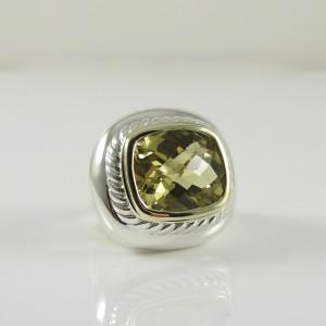 David Yurman Albion 14K Yellow Gold Sterling Silver Citrine Ring Size 6