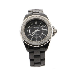 Chanel J12 Automatic Watch Ceramic and Stainless Steel with Diamond Bezel 38