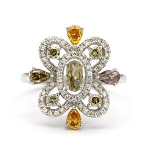 18K White Gold Ring 1.36ctw Multicolored Diamonds Size 6.5
