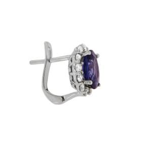 Oval Shape Sapphire Diamond Earrings in White Gold