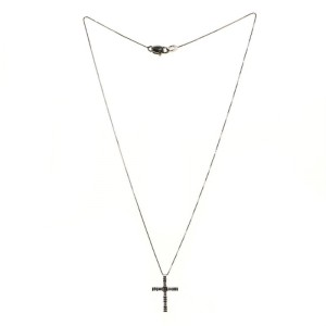Damiani Cross Pendant Necklace 18K White Gold with Diamonds .55CT