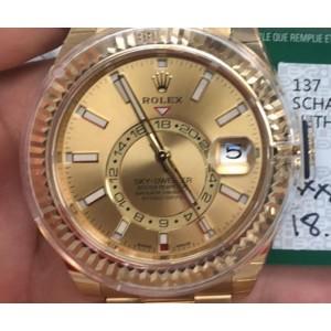 Rolex Sky-Dweller 42 Champagne Arabic Dial Yellow Gold Men's Watch 326938