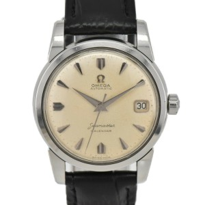 OMEGA Stainless Steel/Leather Seamaster Watch HK-2268