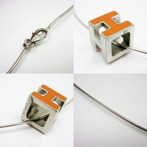 Hermes Silver Tone Metal H Cube Necklace