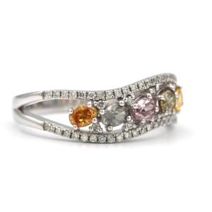 18K White Gold Ring 0.78ctw Multicolored Oval Diamonds Size 6.5