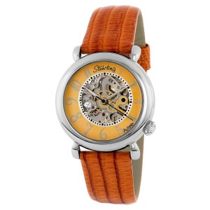 Stuhrling Wall Street 108.1215F58 Stainless Steel & Leather MOP 35mm Watch
