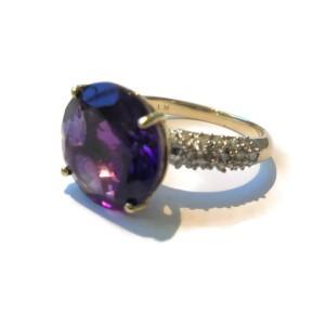 10K Yellow Gold 5.16ct Amethyst & .29ct Diamond Ring Size 6.5