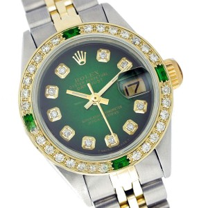 Rolex Datejust 69173 Yellow Gold Diamond and Emerald 26mm Womens Watch