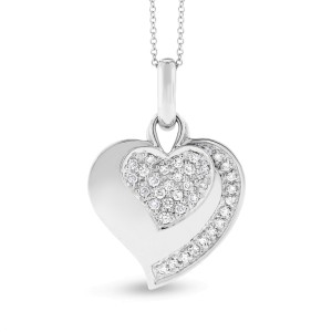 14k White Gold 0.50 Ct. Natural Diamond Double Heart Charm Pendant