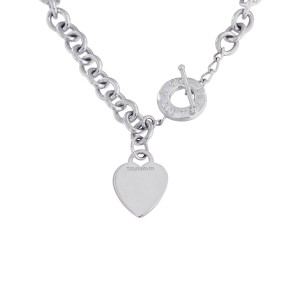 Tiffany & Co. Heart Tag Charm Sterling Silver Toggle Necklace