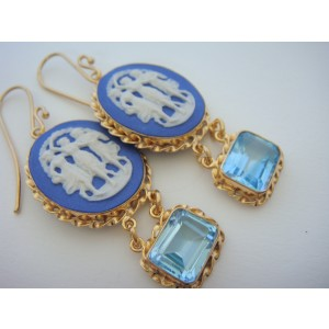 Tagliamonte Gold Plated Over Sterling Silver with Porcelain Cameos and Blue Topaz Earrings