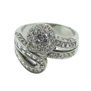 18K White Gold with 3ct Diamond Ring Size 6.75