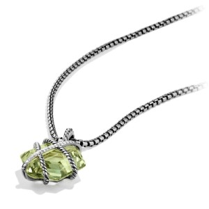David Yurman Cable Wrap Necklace with Prasiolite and Diamonds