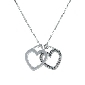Tiffany & Co. 18K White Gold 0.39ctw Diamond Double Heart Necklace