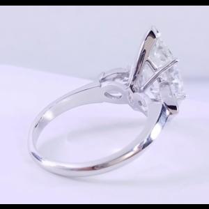 Platinum with 3.91ctw. Marquise Diamond Bateau Engagement Ring Size 6.5