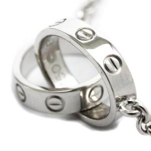 CARTIER Love Bracelet 18K White Gold WG Charm Bracelet Polished