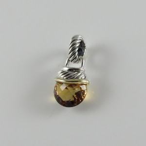 David Yurman Sterling Silver and 14K Yellow Gold Citrine Capri Enhancer