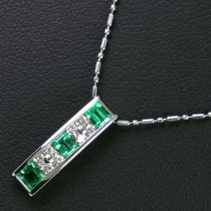 Platinum/Emerald/diamond Necklace
