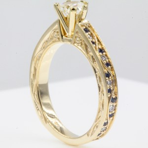 14K Yellow Gold with 0.53ct Heart Shaped Diamond and Sapphire Engagement Ring Size 6