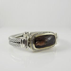 David Yurman Sterling Silver 18K Yellow Gold .48tcw Smoky Quartz Diamond 2-Row Elongated Albion Bracelet