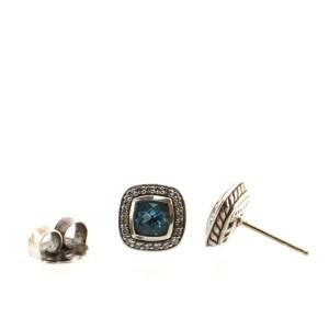David Yurman Petite Albion Stud Earrings Sterling Silver with Topaz and Diamonds 5mm