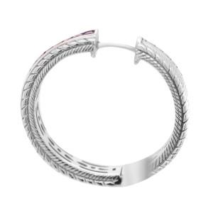 Judith Ripka Sterling Silver Amethyst Hoop Earrings