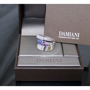 Damiani 18K White Gold Diamonds And Sapphires Ring