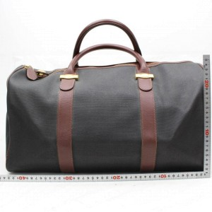 Alfred Dunhill Duffle Dark Chocolate Boston 865953 Brown Canvas Weekend/Travel Bag
