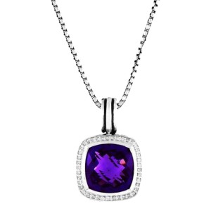 David Yurman Sterling Silver Amethyst & 0.40ct Diamond Albion Pendant Necklace