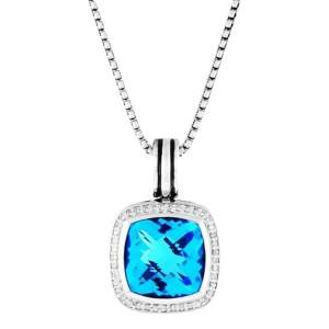 David Yurman Sterling Silver Blue Topaz & 0.40ct Diamond Albion Pendant Necklace