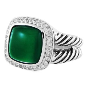 David Yurman Sterling Silver Green Onyx & 0.21ct Diamond Albion Ring Sz 7