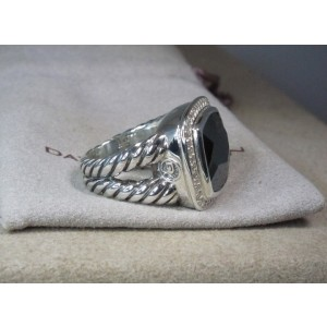 David Yurman Sterling Silver Hematine 7mm With Diamond Cable Albion Ring