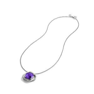 David Yurman Sterling Silver & Amethyst Pendant Necklace