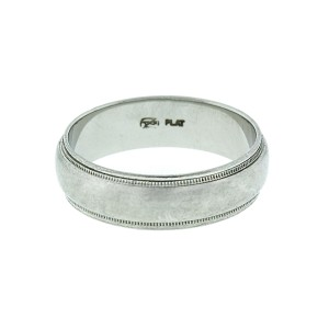 Mens Platinum Milgrain Wedding Band