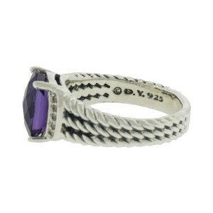 David Yurman Petite Wheaton Ring with Amethyst and Diamonds