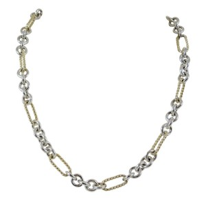 David Yurman Sterling Silver 18K Yellow Gold Figaro Chain Toggle With Gold Link Necklace