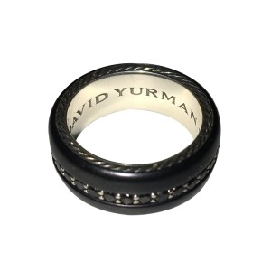David Yurman Black Titanium and Sterling Silver 1.36 Ct Black Diamond Ring Size 9.5