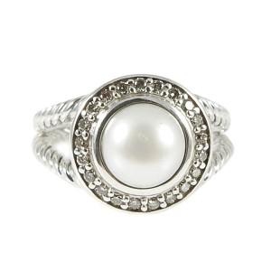 David Yurman Sterling Silver 0.20ct Diamond & Pearl Petite Cerise Ring Size 6