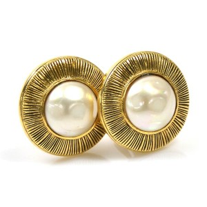 Chanel Gold Tone Metal Simulated Glass Pearl Earrings