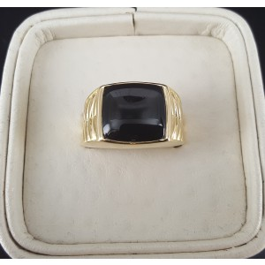 18K Yellow Gold Onyx Ring Size 10.5