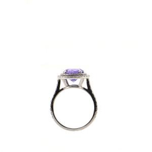Tiffany & Co. Soleste Round Ring Platinum with Tanzanite and Diamonds 2.72CT 7