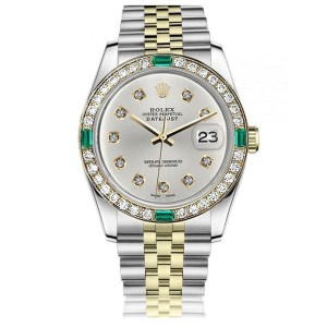 Women's Rolex 31mm Datejust Vintage Diamond Bezel with Emeralds Two Tone Silver Color Diamond Dial