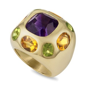 Chanel 18K Yellow Gold Amethyst, Citrine, Peridot Ring Size 3.5