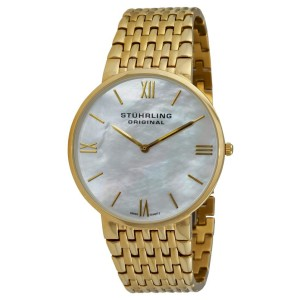 Stuhrling Meydan Concourse 509.33337 Gold-Tone Stainless Steel & MOP 42mm Watch