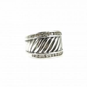 David Yurman Cable 925 Sterling Silver .50tcw Diamond Ring Size 6