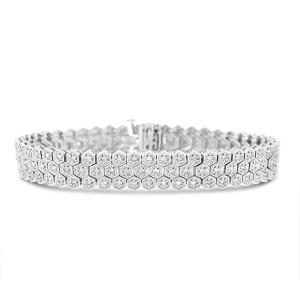 14K White Gold 2.87ct Diamond Honeycomb Pentagon Shape Bracelet
