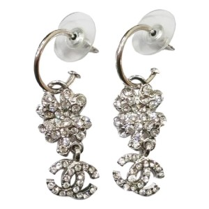 Chanel CC Silver Tone Camellia Rhinestone Loop Piercing Earrings