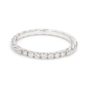 18K White Gold with 0.15ct. Diamond Twisted Band Ring Size 6.5