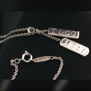 """Tiffany & Co. 750 White Gold 1837 with Diamond 16"""" Necklace"""