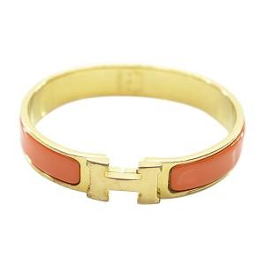 Hermes Gold Tone Metal H Logo Clic Clac Bangle Bracelet